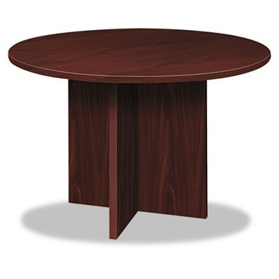 Hon Basyx By Bl Series Conference Table With Round Flat Edge X Base  48   Mahogany