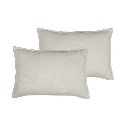 Sherry Kline Lombard Linen Reversible Boudoir Decorative pillow (set of 2) Off-White Down, Feather ()