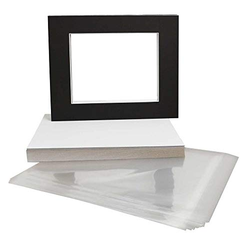 Golden State Art, Pack of 25, 16x20 Black Picture Mats Mattes with White Core Bevel Cut for 11x14 Photo + Backing + Bags - White Black & 16x20 Photo