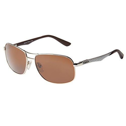 LIANSAN Women Men Polarized Designer Sunglasses - Metal Frame Rectangle Classic Fashion Brown - Around Wrap Prescription Sunglasses Online