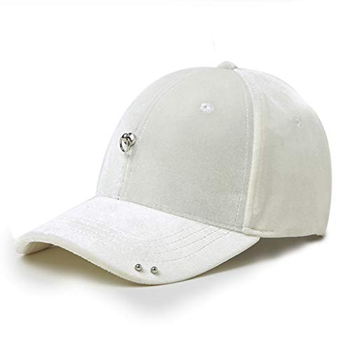 - Baseball cap Solid Color Adjustable Sunscreen Sports Cap Tennis Golf Baseball Sun Hat (Color : White)