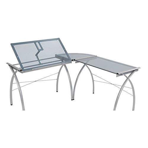 SD STUDIO DESIGNS Futura LS WorkCenter with Tilt Top Adjustable Drafting Table Craft Table Drawing Desk Hobby Table Writing Desk Studio Desk, Silver / Blue Glass