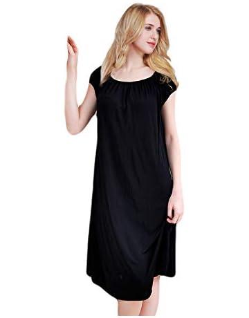 707cf43b6d73c ETAOLINE Womens Nightdress Long Silky Nightwear Ladies Jersey Nightshirt  Nightie