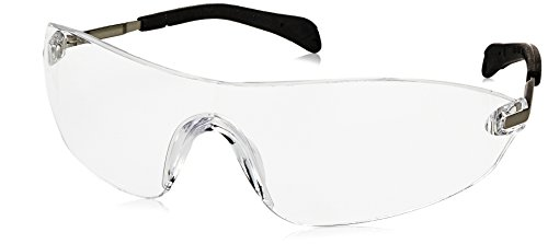 Crews S2210AF Blackjack Elite Safety Glasses with Chrome Metal Temple and Clear Anti-Fog Lens, 1 Pair
