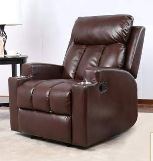 Marvelous Recliners For Small Spaces Bedroom Chairs For Adults Chocolate Leather With  Two CupHolder