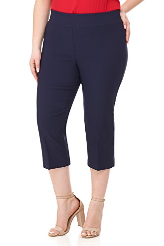 Pants Stretch Crop Twill - Rekucci Curvy Woman Plus Size Classic Wide Waist Flattering Fit Capri (16WSHORT,Navy)