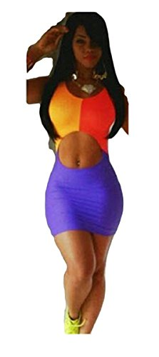 [Symmetrical Hollow-out Neon Colors Club Party Nightclub Cocktail Dress (Large)] (Neon Party Dresses)
