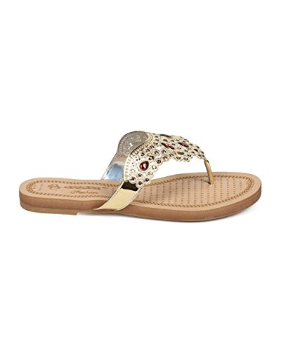 DbDk EG58 Women Metallic Studded Boho Slip on Thong Sandal - Gold Za8gfc