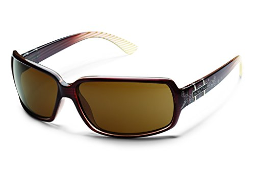 Suncloud Poptown Polarized Sunglasses, Brown Stripe Laser Frame, Brown ()