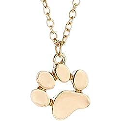 Greendou Fashion Jewelry Cute Animal Paw Print Pendant Puppy Dog Cat Pet Memorial Pendant Necklace (Gold)