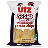 Utz Potato Chips, No Salt Added, 10 oz, (pack of 3)