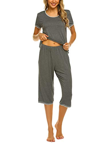 Ekouaer Women's Pajama Sets Capri Pants with Short Tops Cotton Sleepwear Ladies Sleep Sets