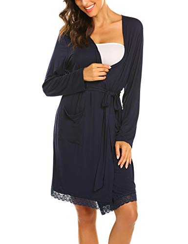 Ekouaer Women Hospital Nightgown Birthing Robes Nursing Sleepwear Breastfeeding Bathrobes(Navy Blue/L)
