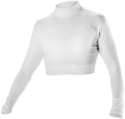 Alleson Cheer Midriff Top, White, Medium