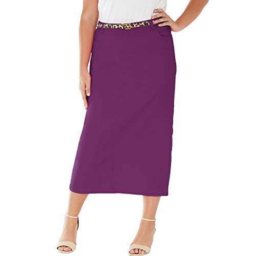 Jessica London Women's Plus Size Classic Cotton Denim Long Skirt - Plum Purple, - Skirt Denim Plums