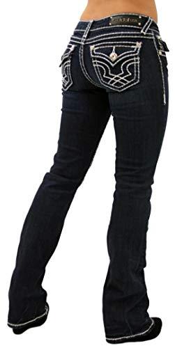 LA Idol Classic Rhinestone Studded Dark Blue Denim Bootcut Jeans 0-15 - Waist -