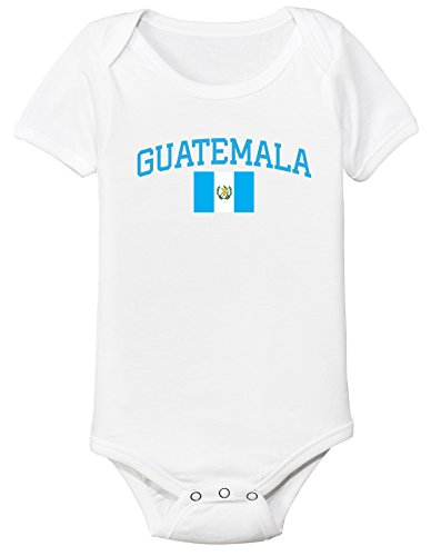(nobrand Guatemala Bodysuit Soccer Infant Baby Girls Boys Personalized Customized Name and Number (12 Months, White))