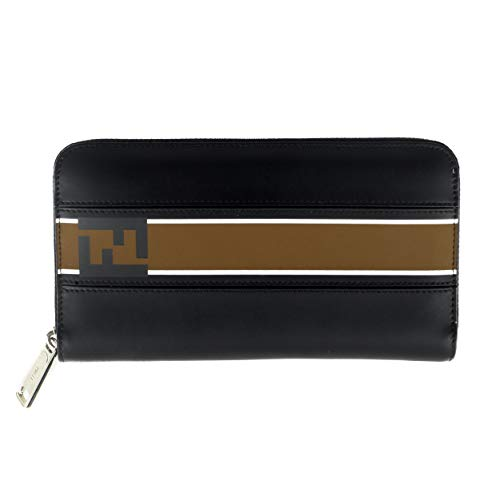 Fendi Unisex Leather Continental Zipper Wallet Black ()