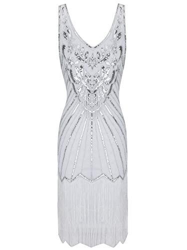 White Flapper Dress (FAIRY COUPLE Women's 1920s Flapper Dress Gatsby Dress V Neck Beaded Fringed Dress Club Dress)