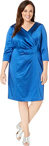 Tahari by ASL Women's Plus Size Stretch Satin Cocktail Dress with Wide Neckline and Side Drape Detail Cerulean Blue 16 W