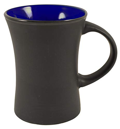 - ITI Ceramic Flared Hilo Coffee Mugs with Pan Scraper, 9 Ounce (6-Pack, Cobalt Blue)