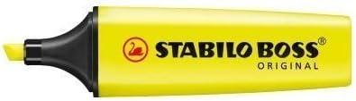 Stabilo Lot de 3 surligneurs fluorescents Stabilo Boss avec encre /à leau Jaune