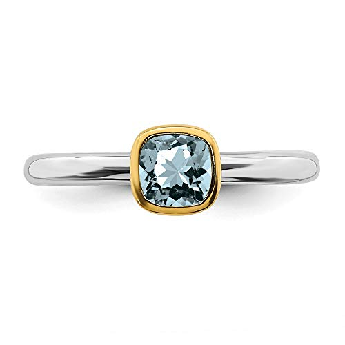 385e0ebd7e077 Stackable Expressions Sterling Silver w/Gold Plated Square Aquamarine March  Birthstone Ring - Size 7