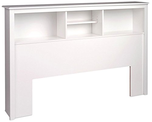 Double Wooden Bookcase (Prepac Monterey White Queen Storage Headboard)