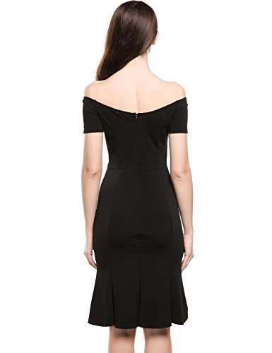 dozenla Black Vintage Dress Sleeve Dress Dresses Dress Bodycon P8wrPAq