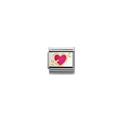 Nomination 030207 - Maillon pour bracelet composable - Femme - Coeur - Acier inoxydable et Or jaune 18 cts