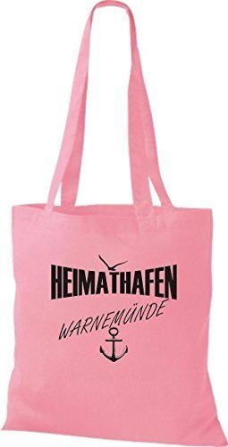 Shirtstown Stoffbeutell Heimathafen Warnemünde molti colori - rosa, 42 cm x 38 cm