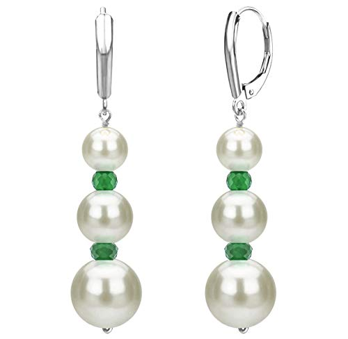 (Graduated Freshwater Cultured White Pearl and Simulated Green Emerald Lever-back Earrings in 14k White Gold)