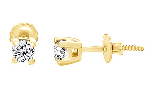 (0.50 Ct) White Natural Diamond Stud Earrings In 14K Yellow Gold Over Sterling Silver by Jewel Zone US