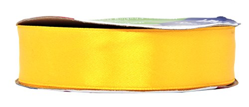 Yellow Ribbon Christmas (Mandala Crafts 1 Inch 50 Yard Wide Silver Red Green Black Blue Teal White Taupe Blush Satin Ribbon Roll (One Roll 50 Yards, Yellow))