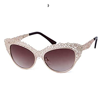 Cat Eye Sunglasses Women Baroque Flower Hollow Metal Frame NEW Designer Vintage Sun Glasses Lady Shades S086
