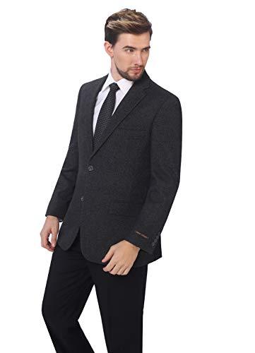 P&L Men's Premium Wool Blend Business Blazer Dress Suit Jacket Dark ()