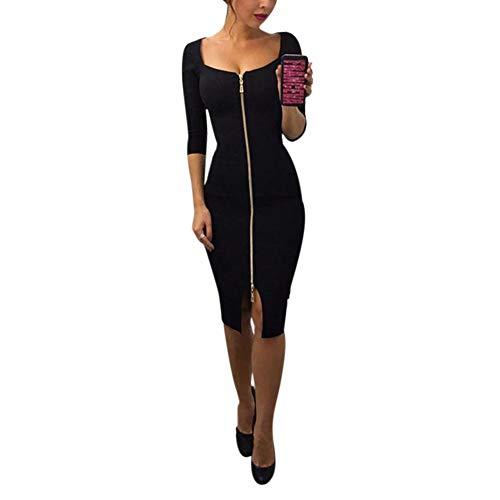 - Womens Sexy Dress Front Zip 3/4 Sleeve Split Slit Cut Out Slim Fit Bodycon Midi Dresses