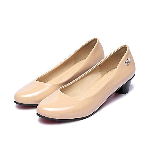 Black Shoes Almond Patent ZHZNVX Leather Women's Heel Almond Basic Summer Chunky Pump Red Heels vxq15wO