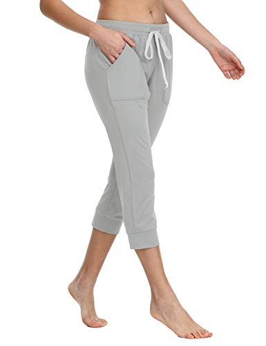 Baleaf Women's Capri Jogger Sweatpants Active Yoga Running Lounge Pants Light Grey ()