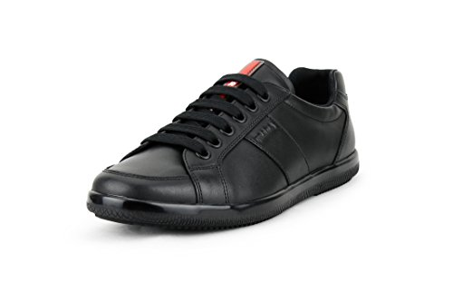 Prada Men's Plume Calf Leather Low-top Trainer Sneaker, Black (Nero) 4E2845 (11.5 US / 10.5 UK)