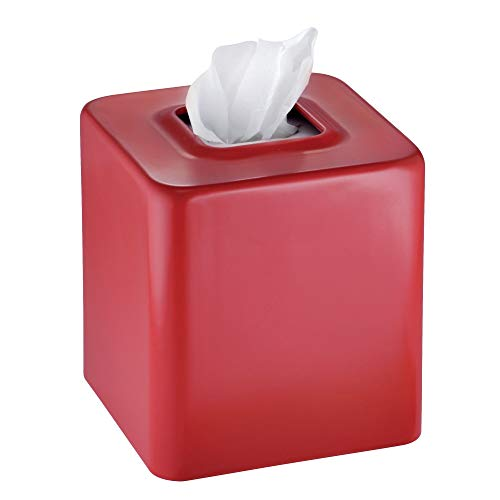 mDesign Modern Square Metal Paper Facial Tissue Box Cover Holder for Bathroom Vanity Countertops, Bedroom Dressers, Night Stands, Desks and Tables - Red