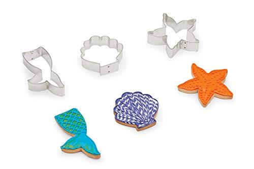 (Fox Run 3698 Mermaid Cookie Cutters, 1 x 4.5 x 4 inches, Metallic)