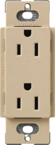 Lutron SCRS-15-TR-DS Satin Colors 15-Amp Tamper Resistant Receptacle, Desert Stone by Lutron