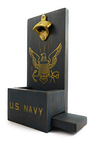 US Navy United States USA Military Distressed Wood Wall Mount Bottle Opener With Cap Catcher and Easy Removal System- Custom Colors/Styles ()