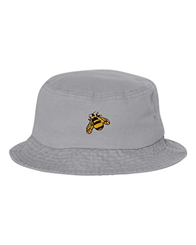 (Go All Out One Size Gray Adult Bumble Bee Embroidered Bucket Cap Dad Hat )