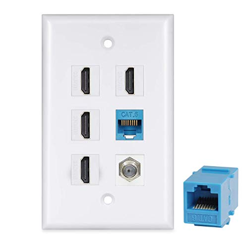HDMI Wall Plate 4 Port - HDMI Ethernet Coax Cable TV F-Type Wall Plate(White) - 4 Port HDMI + 2 Cat6 Ethernet + 1 - Outlet Wall Hdmi
