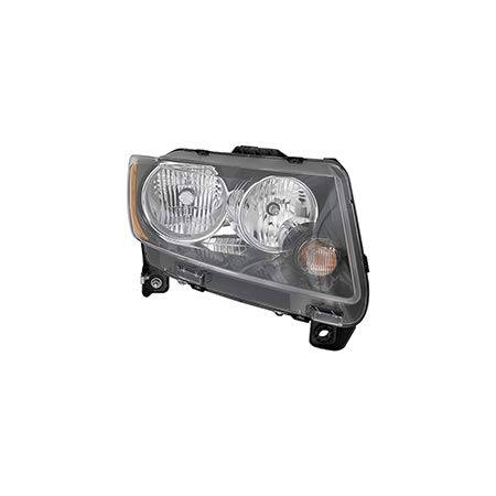 Fits 2013-2017 Jeep Compass Head Light Passenger Side CH2503246 Standard Type; Code LMB; w/Black Trim - replaces 68171214AA (Bulb Compass Jeep)
