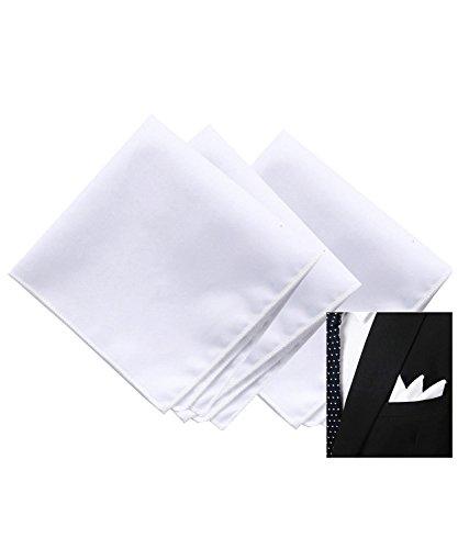 Men's White Cotton Handkerchief Pocket Square for suits
