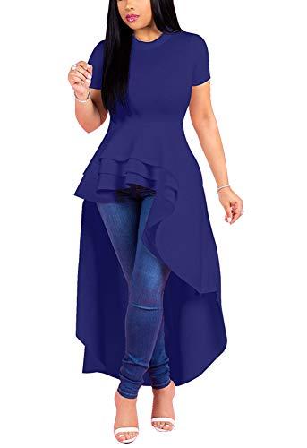 (Fashion High Low Tops for Women - Unique Ruffle Short Sleeve Tunic Shirt Medium Blue)