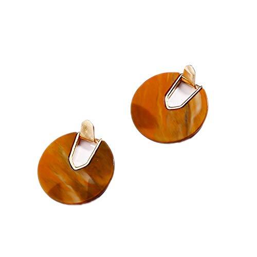 Colorful Resin Acrylic Round Dangle Earrings for Women U Shape Statement Earrings Wedding Jewelry,Brown